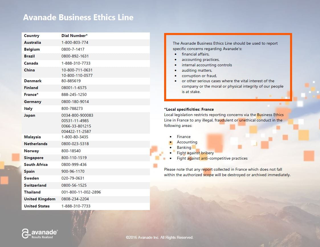 business ethics line phone numbers